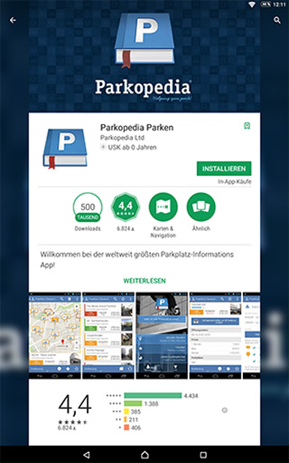 Parkopedia im Google Play Store