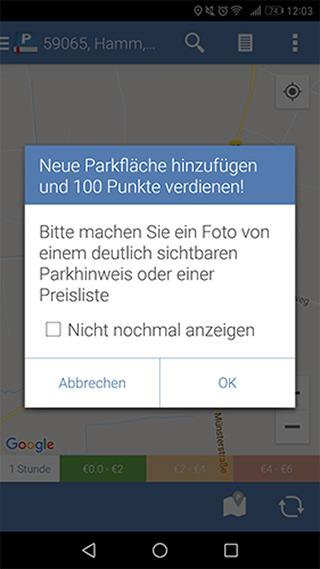 Fügt der Nutzer einen neuen Parkplatz hinzu, bekommt er dafür 100 Punkte.