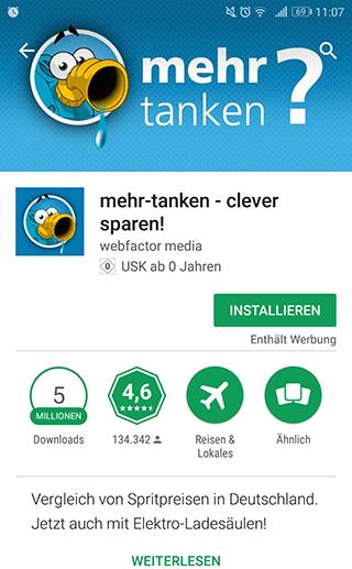 Die App mehr-tanken-im-google-Play-Store