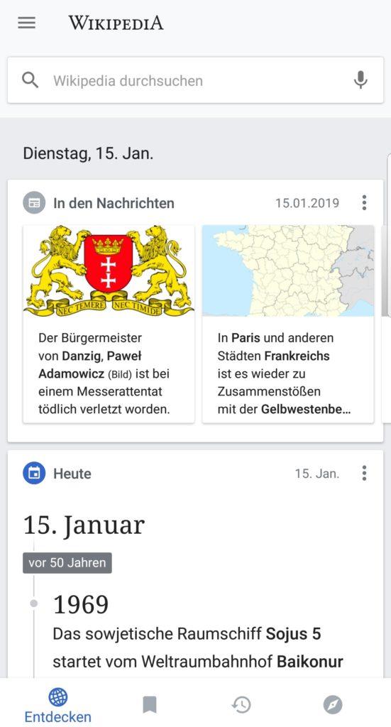 Wikipedia App Entdecken-Feed